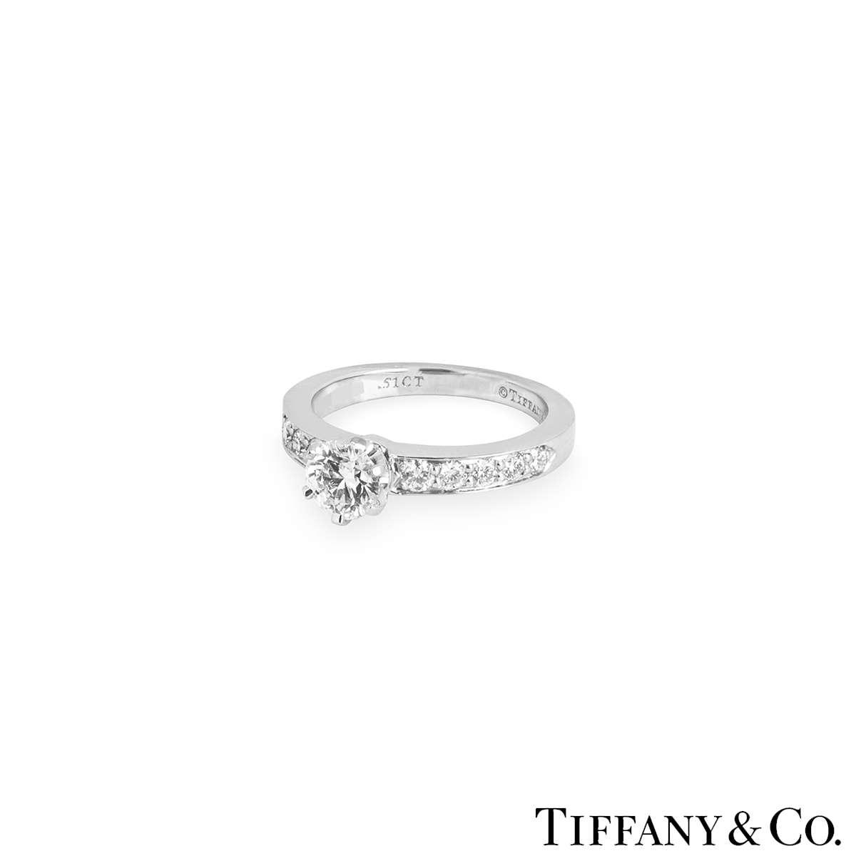 Tiffany & Co. Platinum Diamond Setting Ring 0.51ct G/VS1